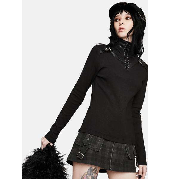 Punk Rave Punk Knit Lace-Up Collar T-Shirt
