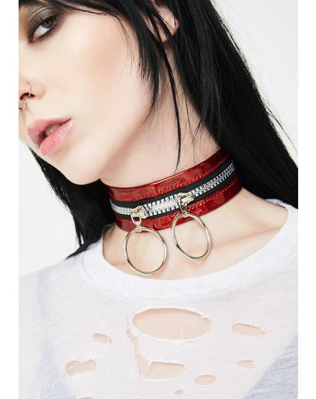Haute Tempered Zipper Choker