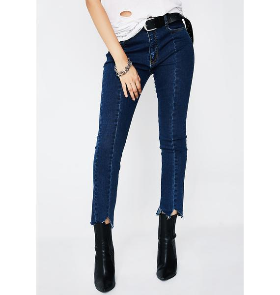 EVIDNT Distressed Hem Jeans
