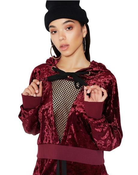 Crush On U Mesh Panel Velvet Hoodie