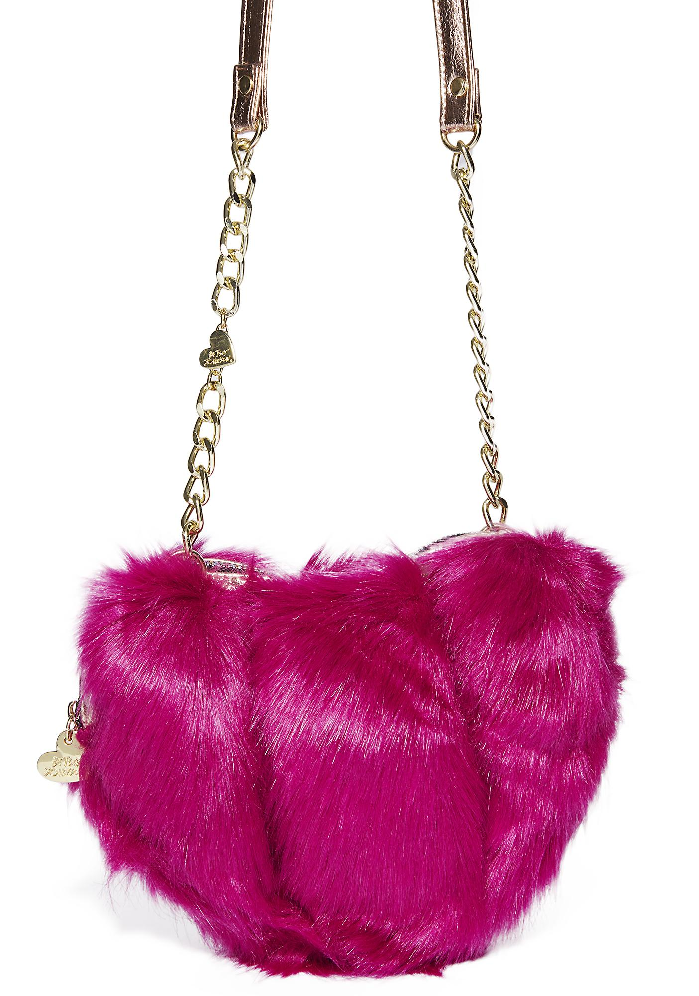 Betsey Johnson Fur Your Eyes Only Heart Crossbody