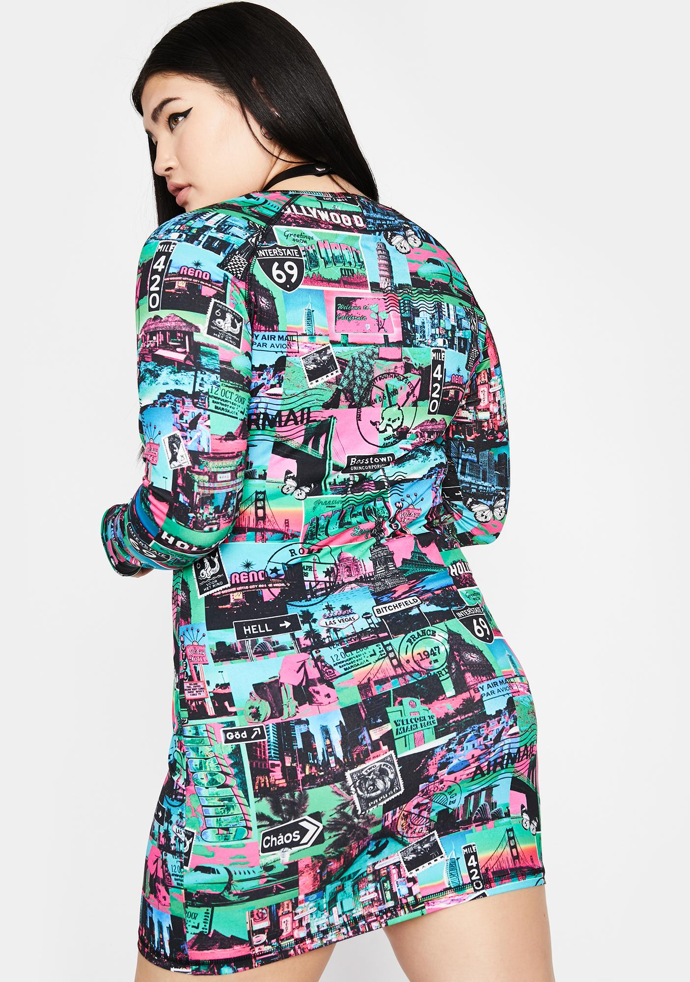 HOROSCOPEZ Ur Untamed Odyssey Print Dress