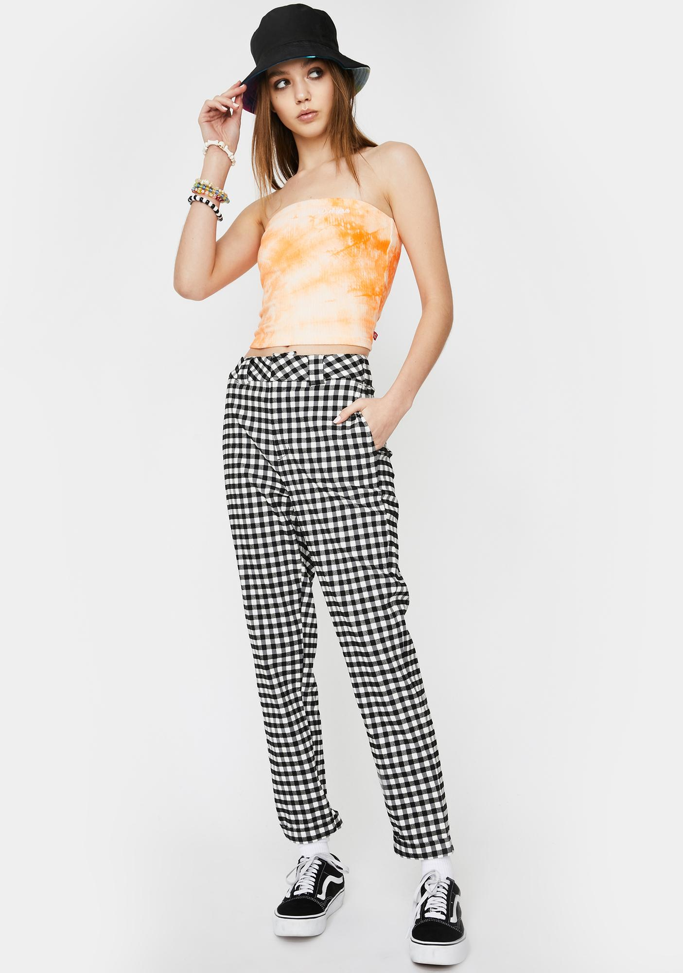 Dickies Girl Check Rolled Cuff Skinny Worker Pants