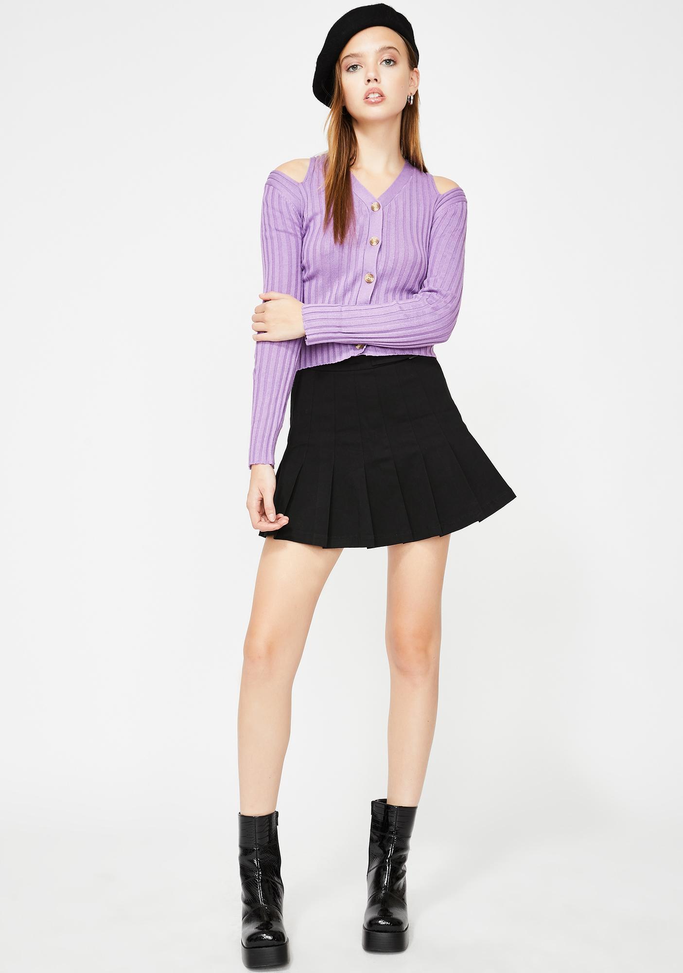 Glamorous Lavender Cold Shoulder Knit Cardigan