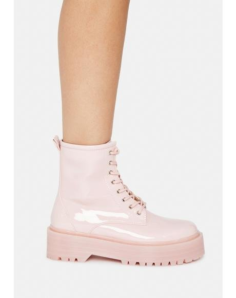 Blush Possy Lace Up Ankle Boots