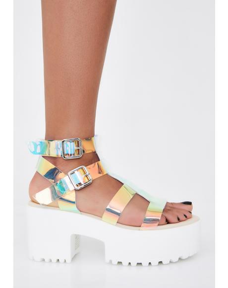 Iridescent Teresa Chunky Platform Sandals