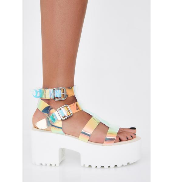 Public Desire Iridescent Teresa Chunky Platform Sandals