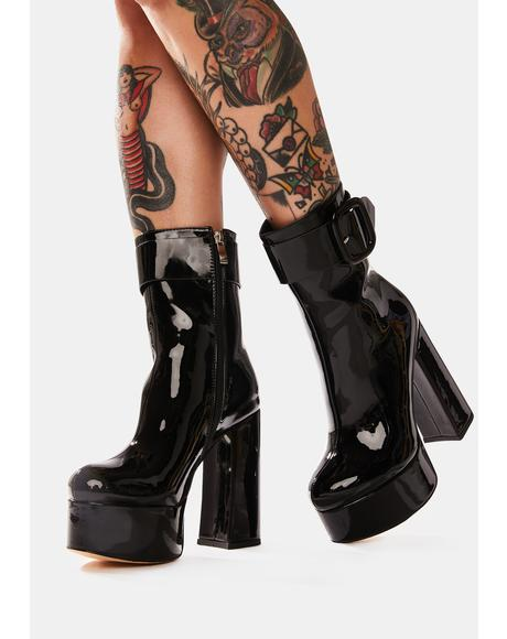 Venus Of Mine Buckle Platform Ankle Boots