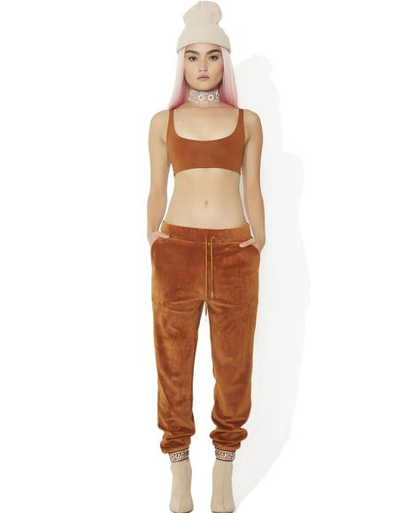 Rust Velour Skinny Joggers