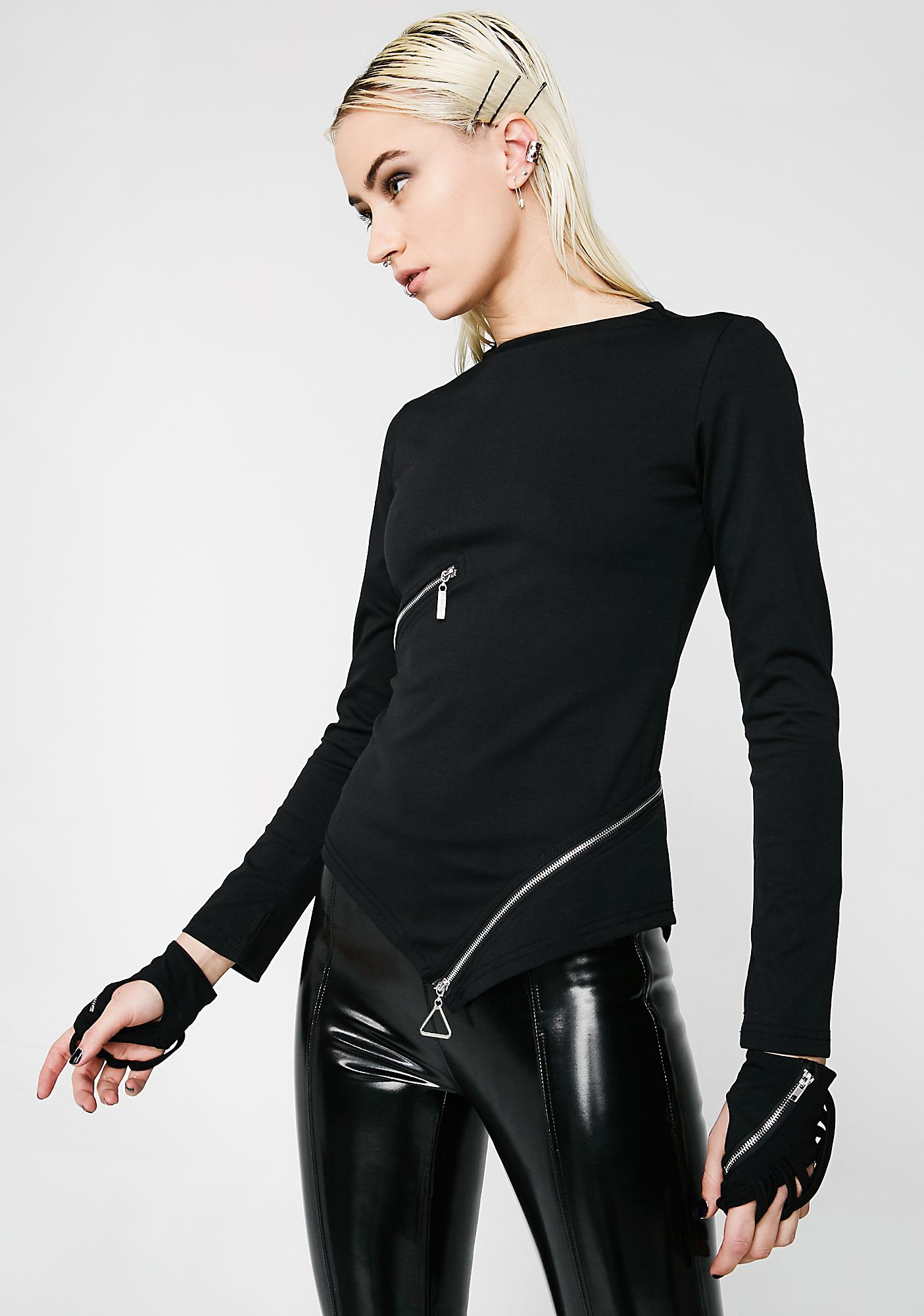 Punk Rave Goth Slim Zipper Tee