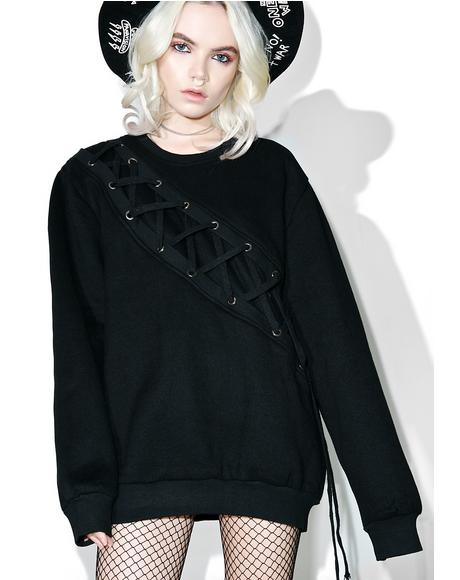 Binding Feelz Lace-up Sweater