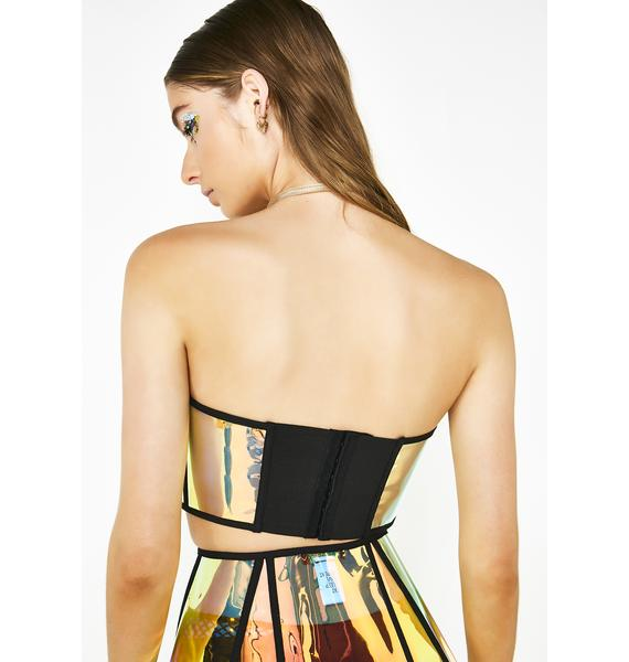 Club Exx Sunset Crusader Holographic Bustier