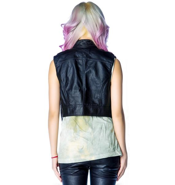 Lip Service Spiked Matte PU Zip Up Vest