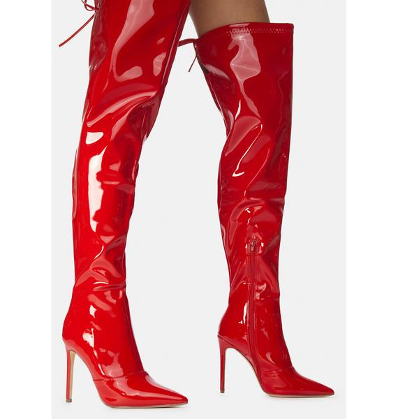 Fire Time For Danger Thigh High Boots