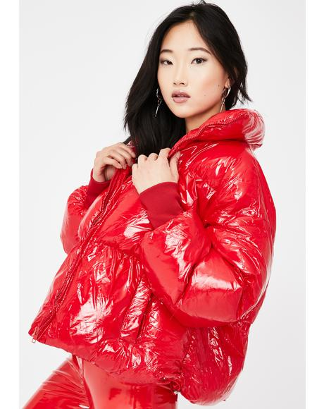 Red Oversized Vinyl Puffer Coat
