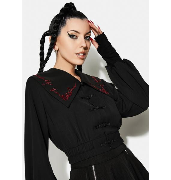 Punk Rave Navy Collar Embroidered Top