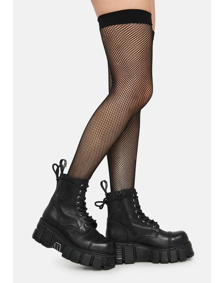 Noir Everyday Slay Fishnet Thigh Highs