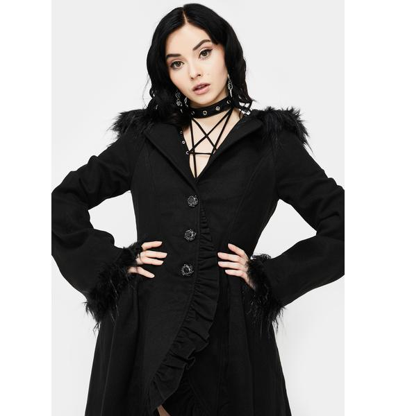 Devil Fashion Hooded High-Low Coat
