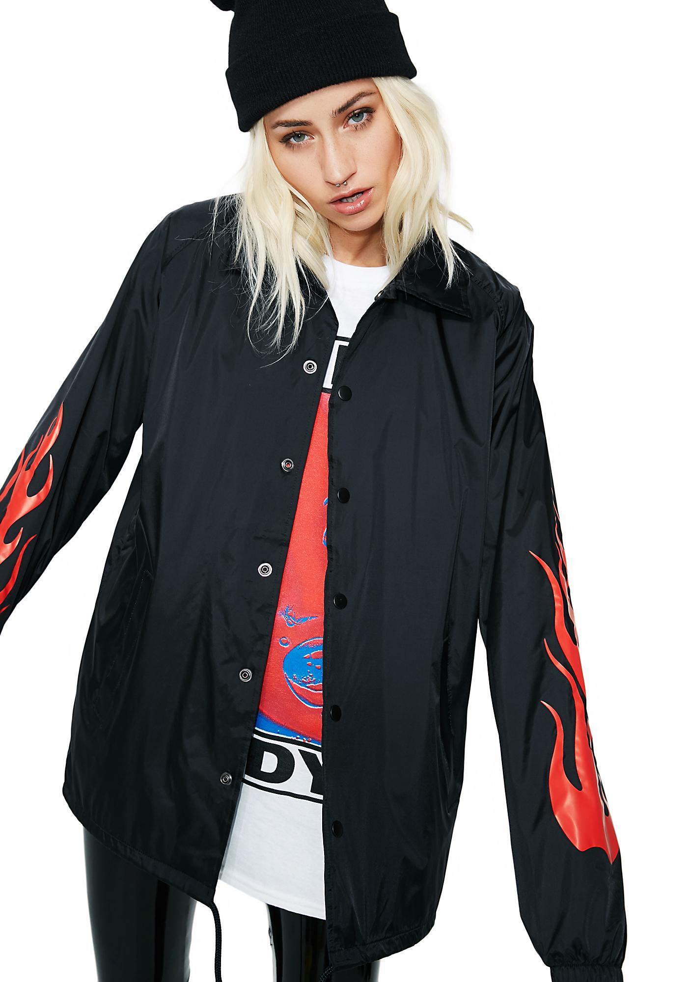 Petals and Peacocks Flame Forever Coach Jacket