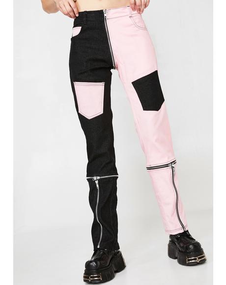 2Tone Split Jeans