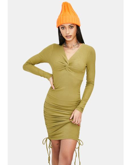 Slight Of Hand Ruched Twist Mini Dress