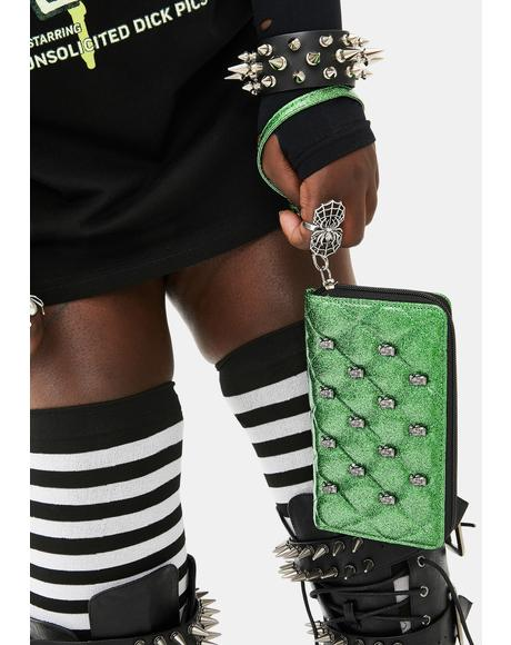 Studded Monster Zip Around Wallet