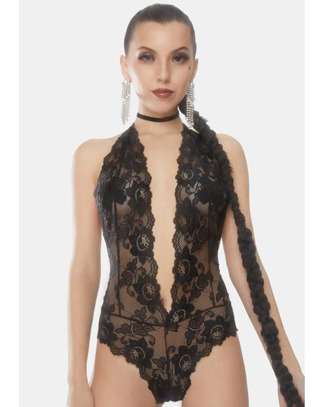 Leonie Plunging Lace Halter Teddy