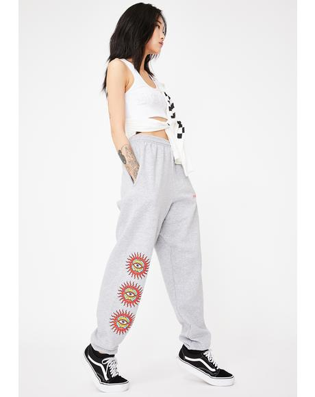 Gray Behold Graphic Sweatpants