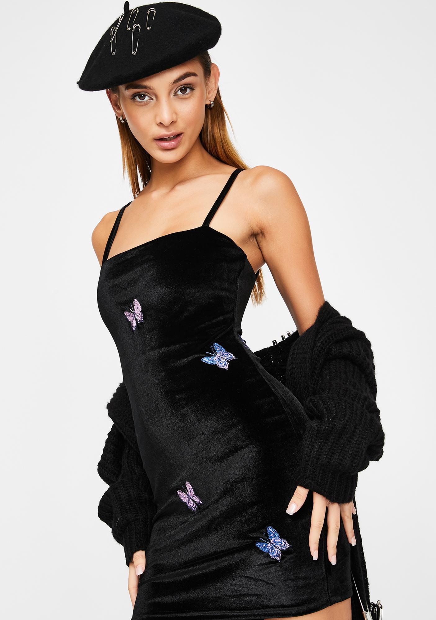ZEMETA Black Velvet Embroidery Dress