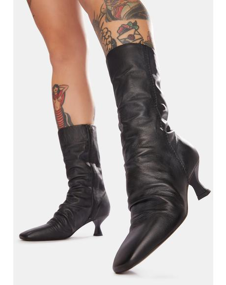 Marcella Square Toe Leather Boots