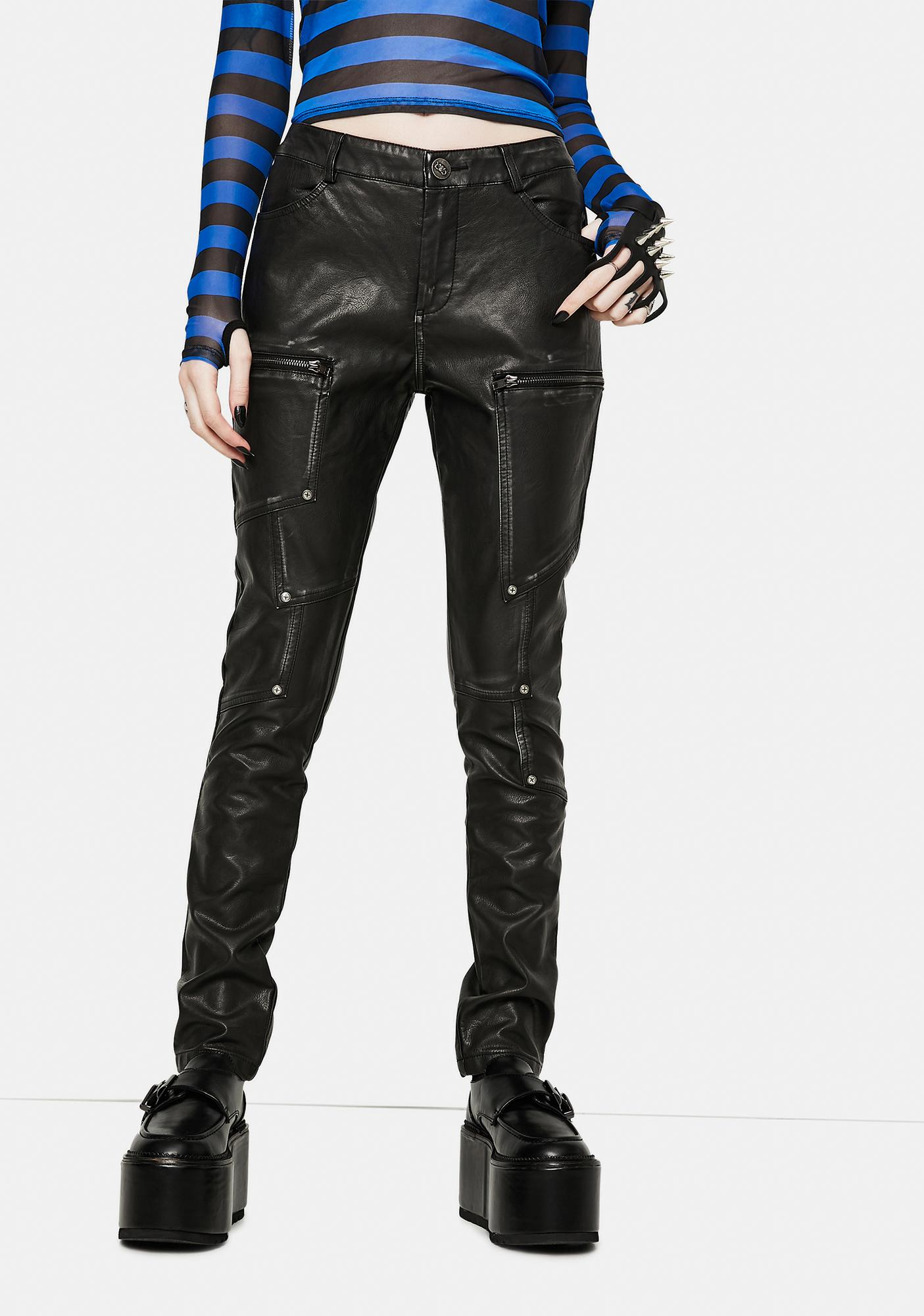 Devil Fashion Zipper Detail Faux Leather Pants