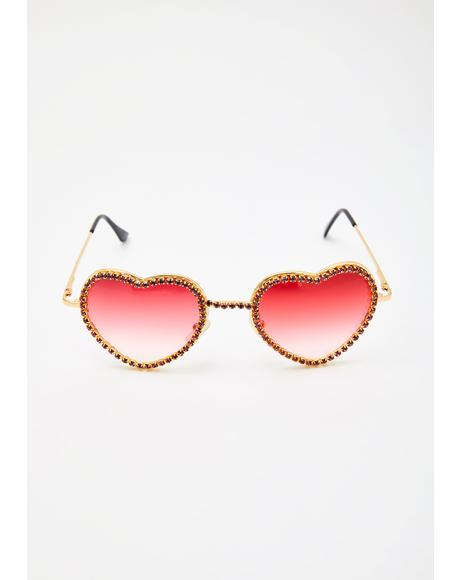 Lit Buy My Love Rhinestone Sunglasses
