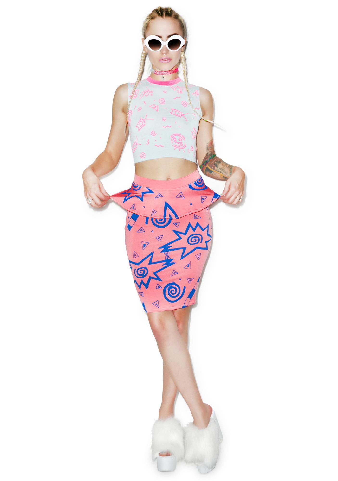 Mamadoux 80s Print Peplum Skirt