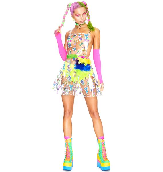 Club Exx Looney Toonz Clear Overall Dress