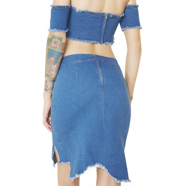 Sabotage Distressed Denim Skirt