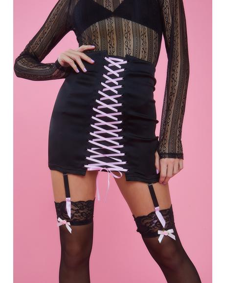 Watch Me Jete Lace-Up Skirt