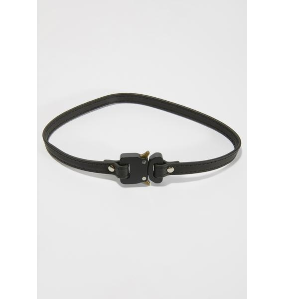 Synth Vegan Leather Choker With Black Buckle