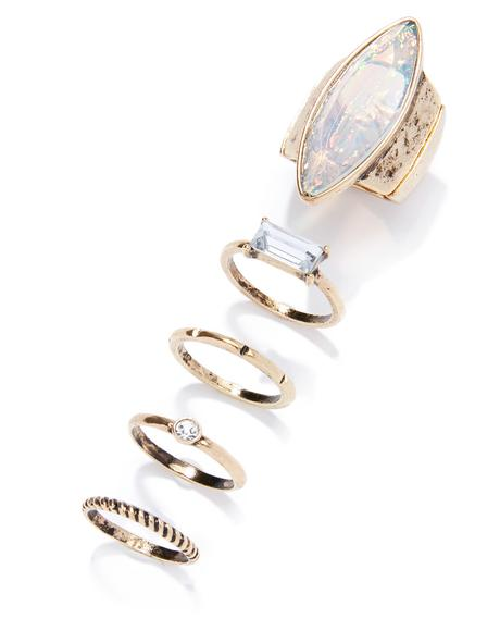 Crystal Clear Gold Ring Set