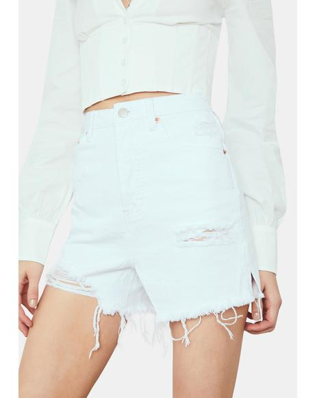 Boo Thang Distressed Long Denim Shorts