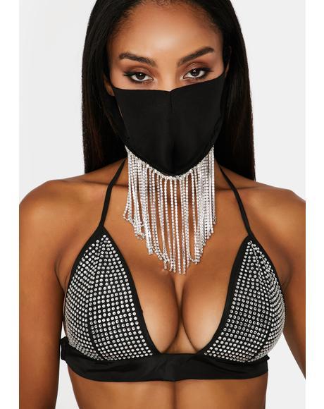 Stay Drippy Rhinestone Face Mask