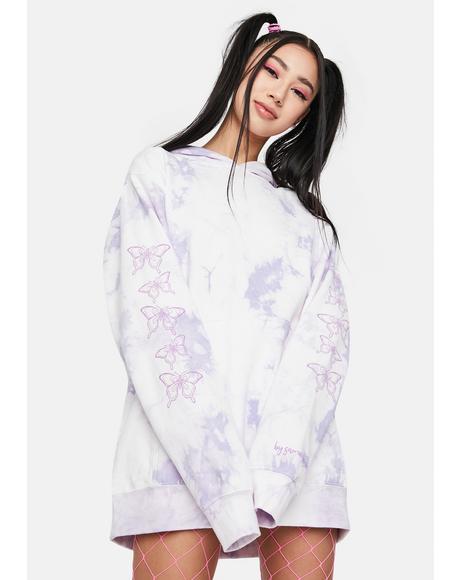 Violet Butterfly Tie Dye Hoodie