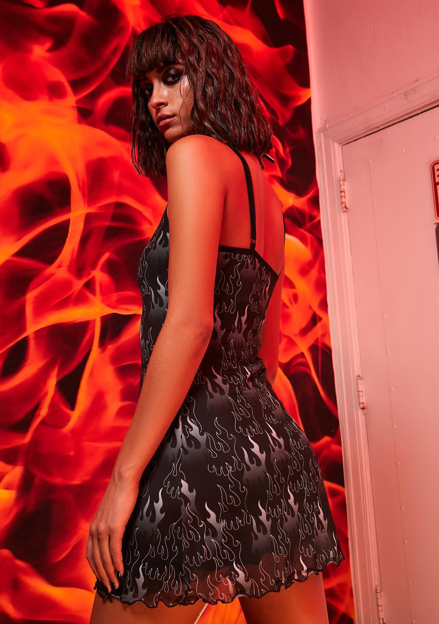 Current Mood Calamity 101 Flame Print Mini Dress