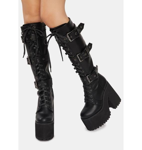 Widow Wicked Guardian Platform Buckle Boots