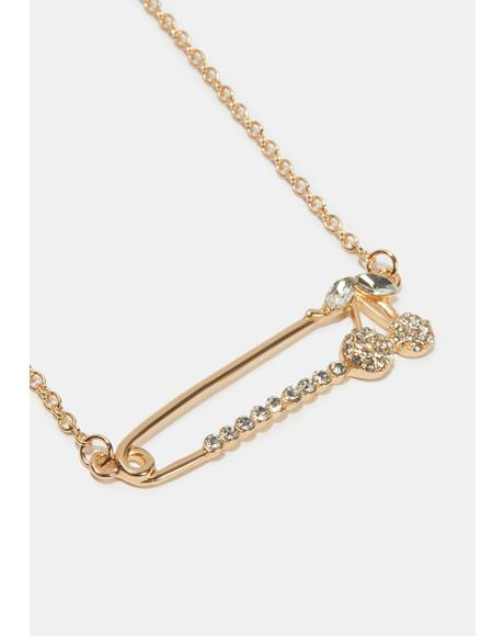 Slightly Dangerous Safety Pin Necklace