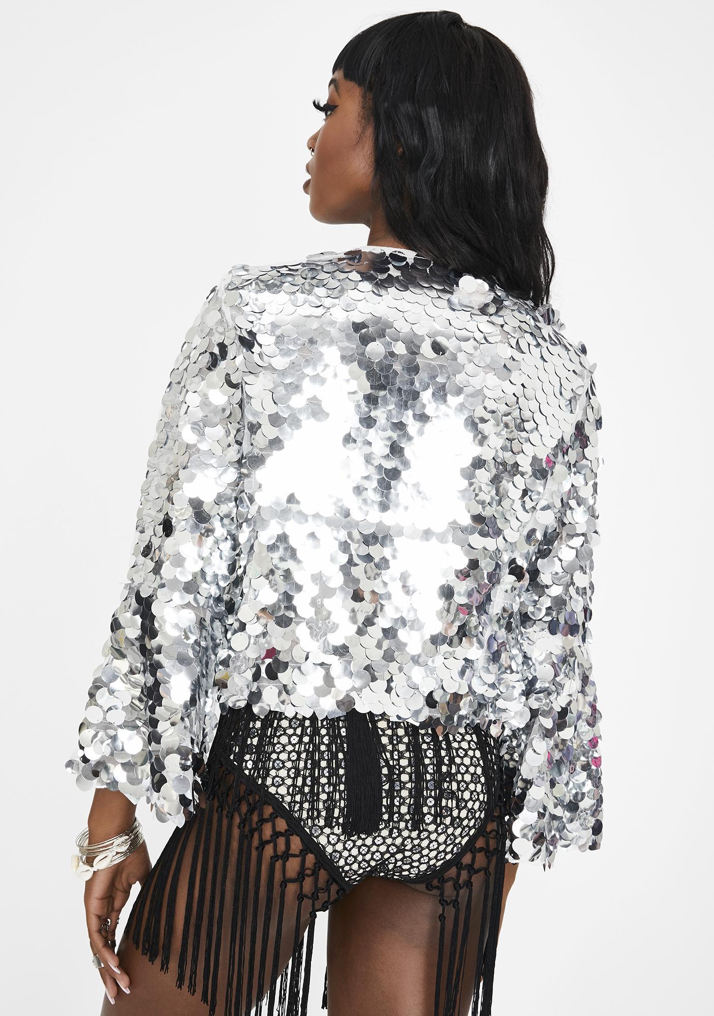 EastnWest Riviera Silver Dollar Sequin Jacket