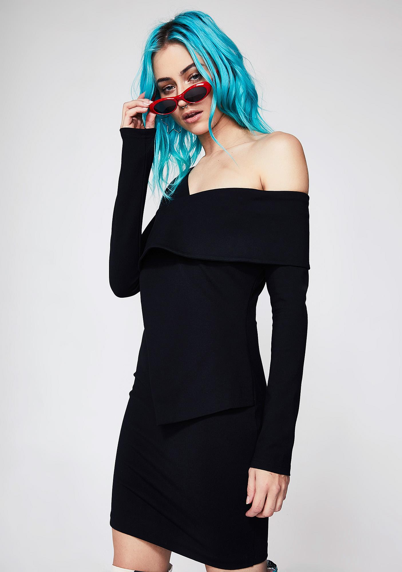 Lavish Alice Ponte Asymmetric Mini Dress