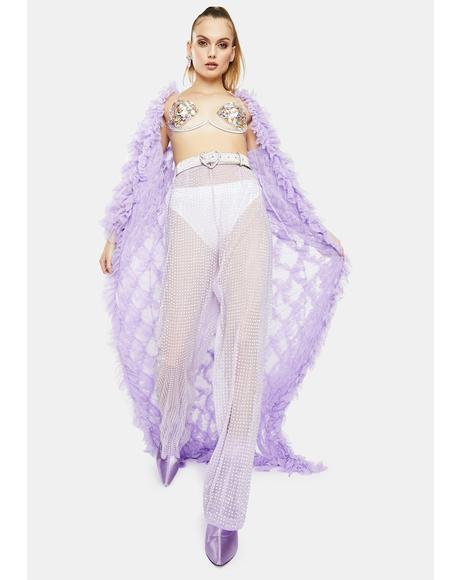 Lilac Rhinestone Mesh Wide Leg Pants