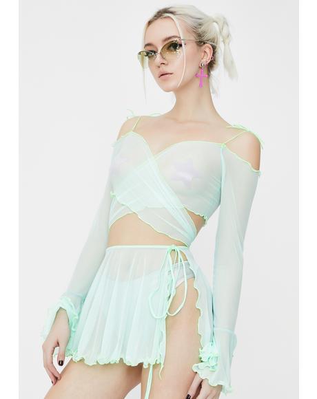 Minty Faerie Mesh Wrap Skirt