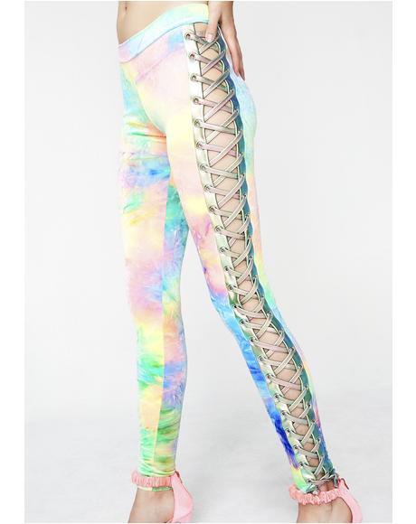 Synesthesia Velvet Lace-Up Leggings
