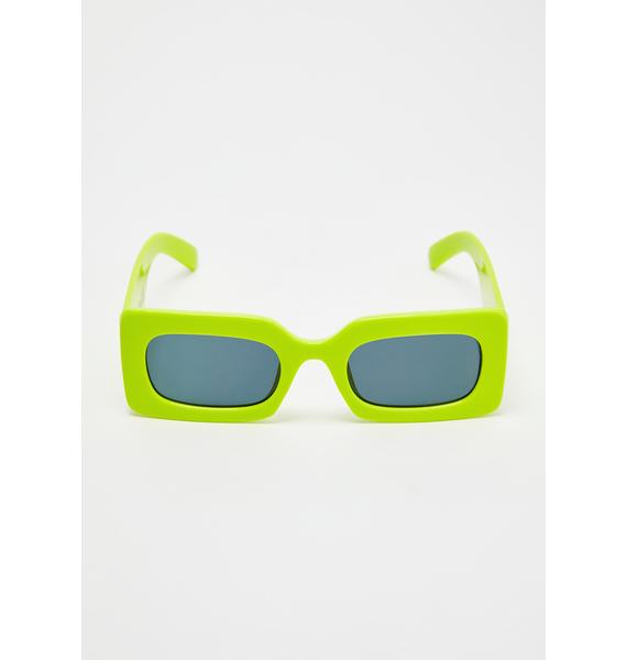 Petals and Peacocks Safety Green Rhubic Sunglasses